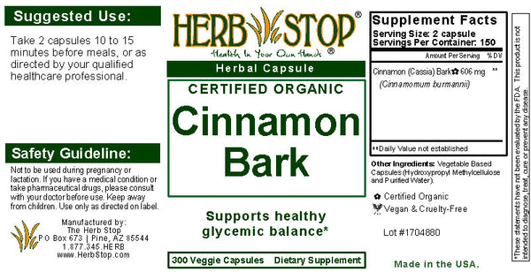 Cinnamon Bark Capsules Label
