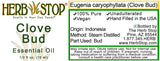 Clove Bud Essential Oil Label