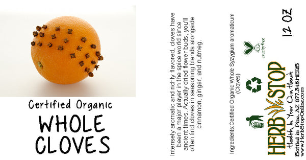Organic Whole Cloves Label