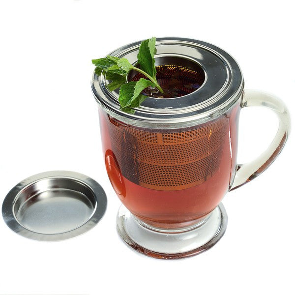 Collapsible Stainless Steel Tea Infuser with Drip Catcher Steeping