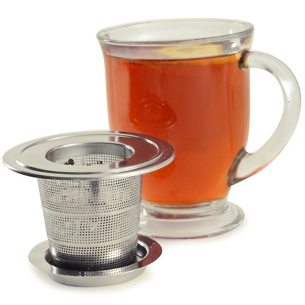 Collapsible Stainless Steel Tea Infuser with Drip Catcher Teacup