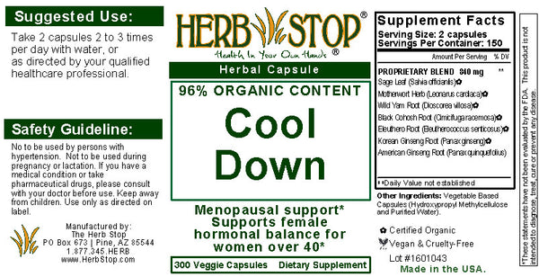 Cool Down Capsules Label