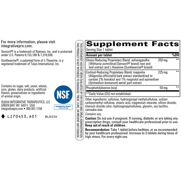 Cortisol Manager Supplement Facts