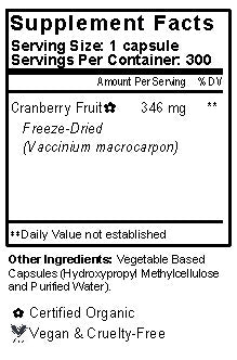 Cranberry Capsules Supplement Facts
