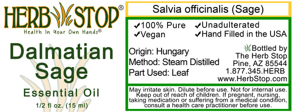 Dalmatian Sage Essential Oil Label