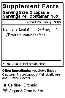 Damiana Leaf Capsules Supplement Facts