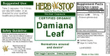 Damiana Leaf Capsules Label