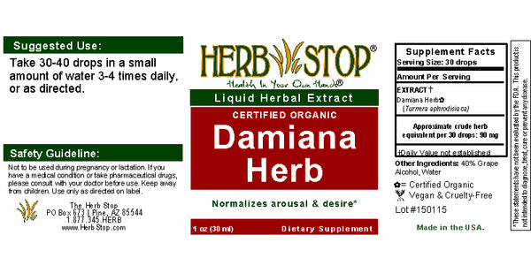 Damiana  Extract Label