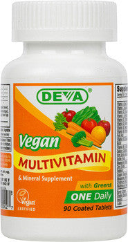 Vegan Multi-Vitamin & Mineral Supplement with Greens - One Daily