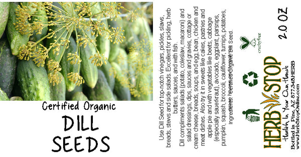 Organic Dill Seeds Label