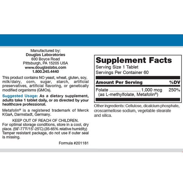 Methyl Folate by Douglas Labs Supplement Facts Label