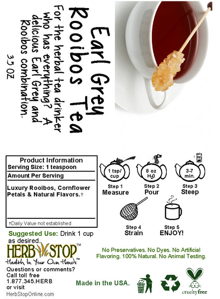 Earl Grey Rooibos Tea Label