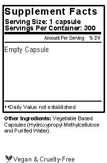 Empty Veggie Caps Size 0 Supplement Facts