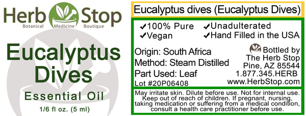 Eucalyptus Dives Essential Oil Label