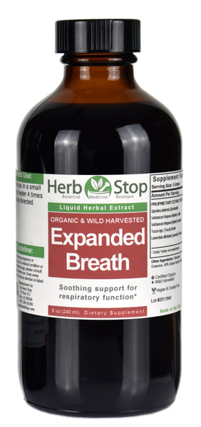 Organic Expanded Breath Liquid Herbal Extract 8 oz Bottle