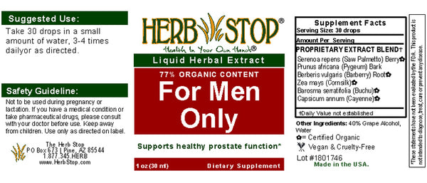 For Men Only Extract Label