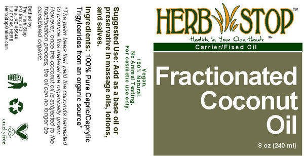 Fractionated Coconut Oil 8 oz Label