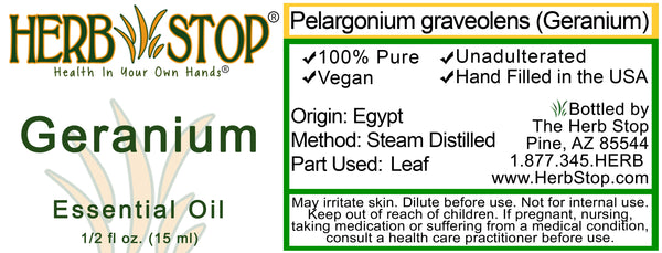 Geranium Essential Oil Label