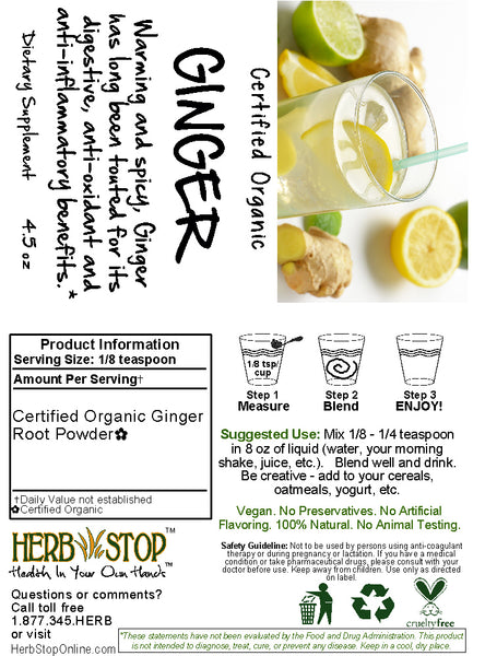 Organic Ginger Powder Label