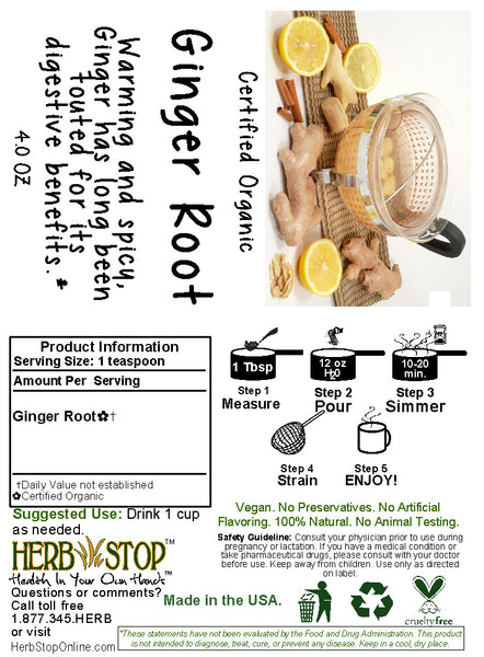Ginger Root Tea Label