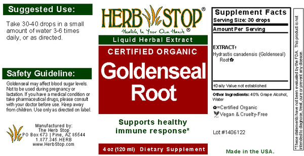 Goldenseal Extract Label