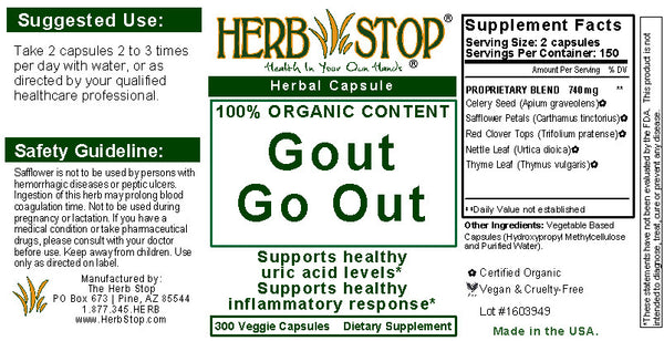 Gout Go Out Capsules Label