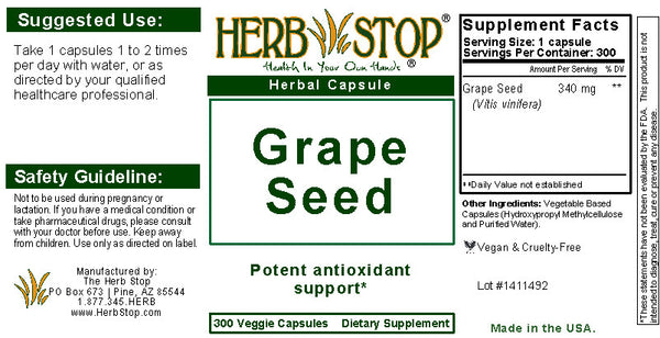 Grape Seed Capsules Label