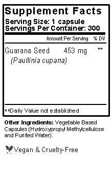 Guarana Capsules Supplement Facts