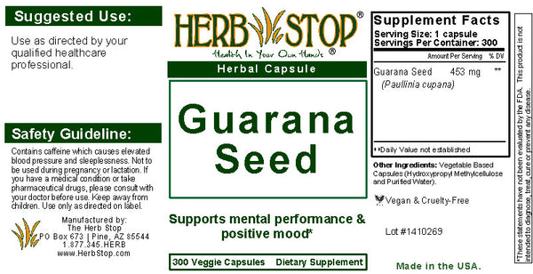 Guarana Capsules Label