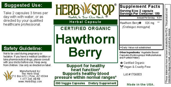 Hawthorn Berry Capsules Label
