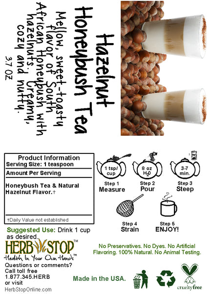 Hazelnut Honeybush Tea Label