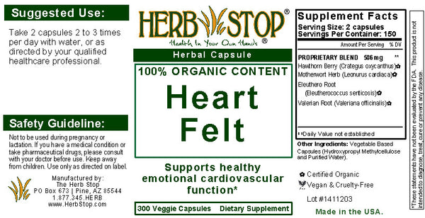 Heart Felt Capsules Label