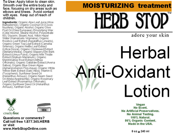 Herbal Anti-Oxidant Lotion Label