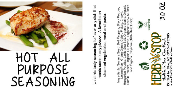 Hot All Purpose Seasoning Label