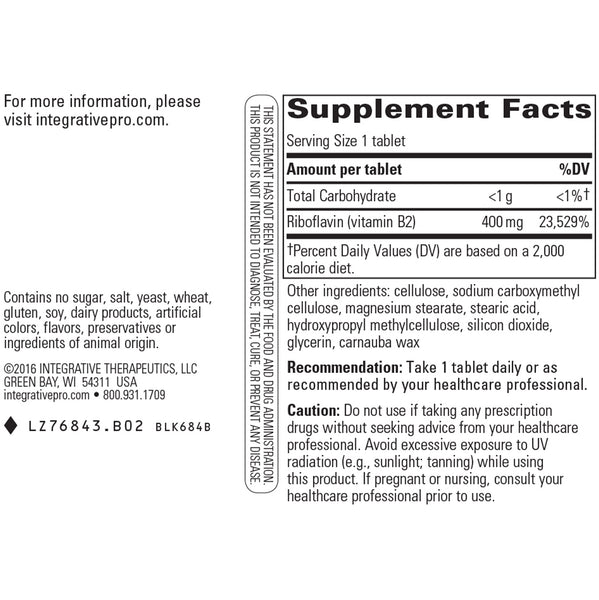 Integrative Therapeutics Riboflavin Vitamin B2 Supplement Facts
