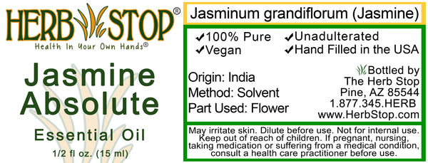 Jasmine Absolute Essential Oil Label