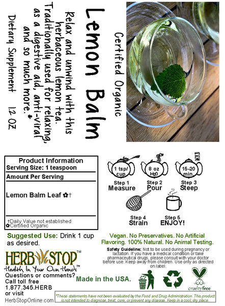 Lemon Balm Tea Label