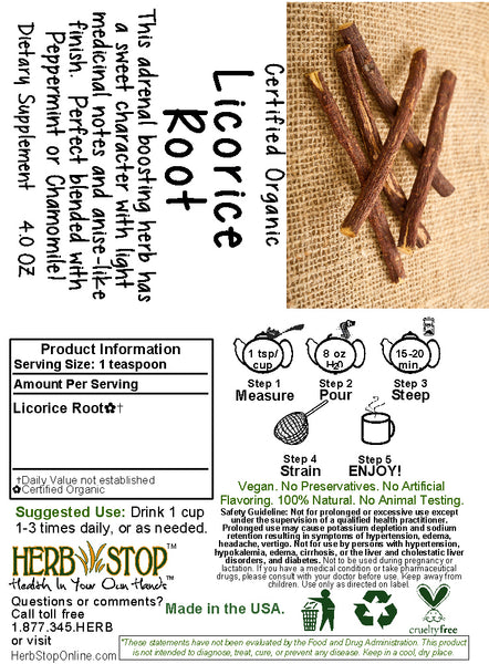 Licorice Root Tea Label