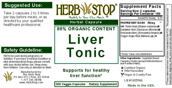 Liver Tonic Capsules Label