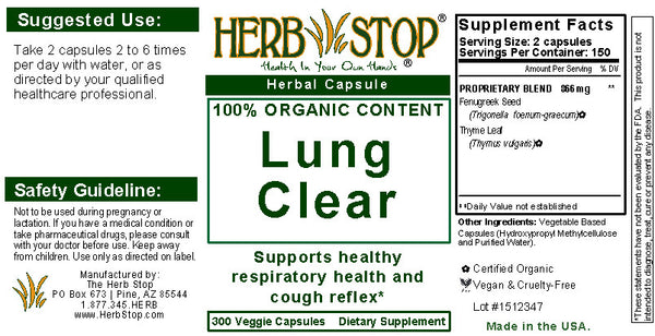 Lung Clear Capsules Label