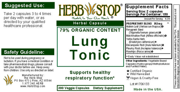 Lung Tonic Capsules Label