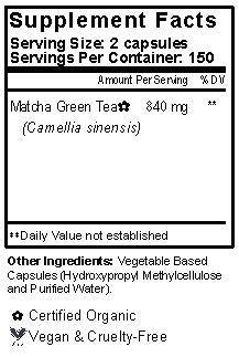 Matcha Green Tea Capsules Supplement Facts