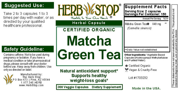 Matcha Green Tea Capsules Label
