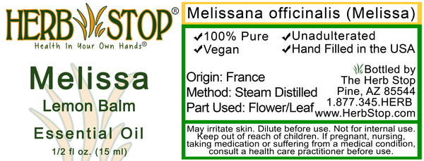 Melissa Essential Oil Label