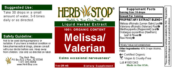 Melissa/Valerian Extract Label