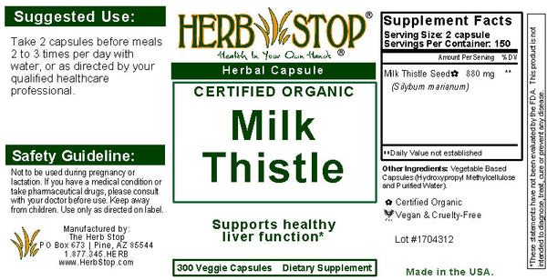 Milk Thistle Capsules Label