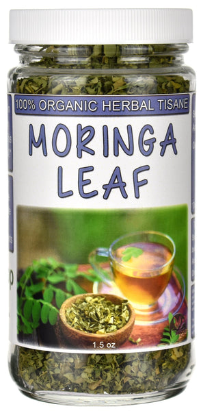 Organic Moringa Leaf Herbal Tea Tisane Jar