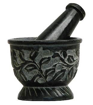 Mortar & Pestle - Black Carved Floral Designs