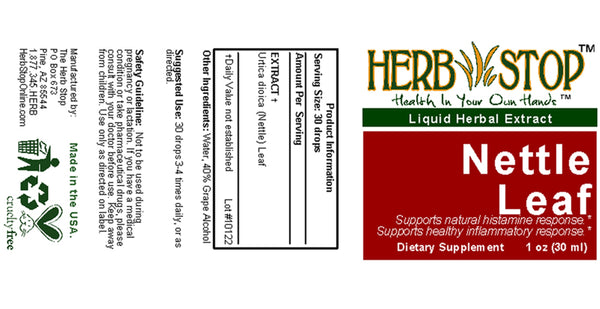 Nettle Leaf Extract Label