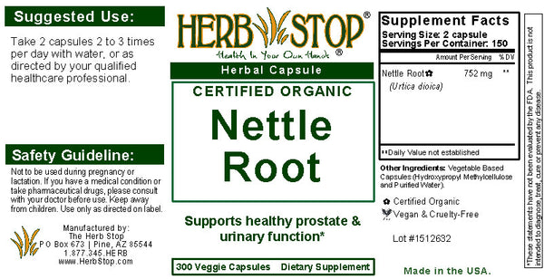 Nettle Root Capsules Label